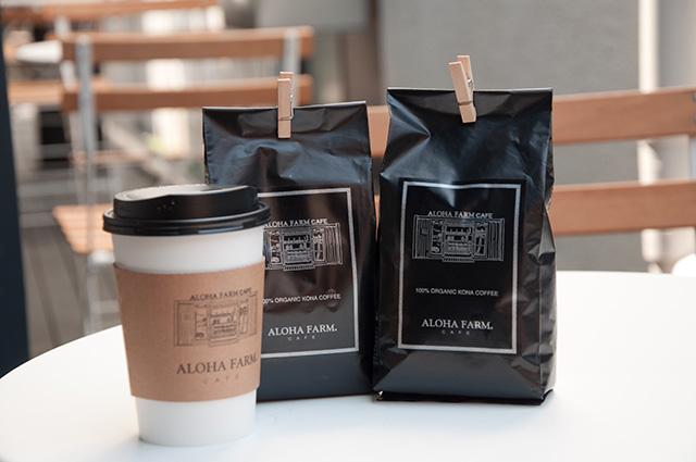 100%オーガニックコナコーヒー540円。奥のコーヒー豆200g4800円。