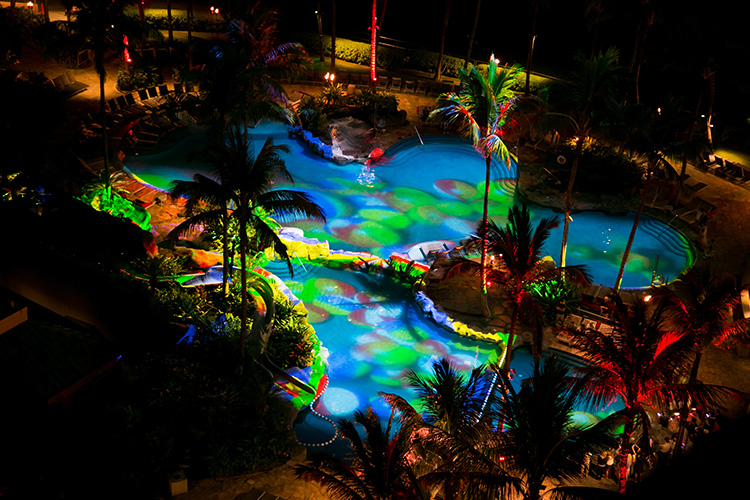 M on press for Pool light show waikiki