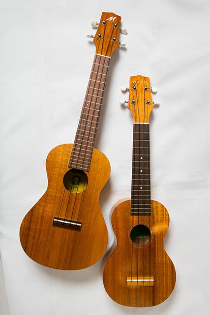 GCEA$299(右)とマイレレイ$439。アメリカでは新興ブランドのミツバガッキ・ハワイ製。