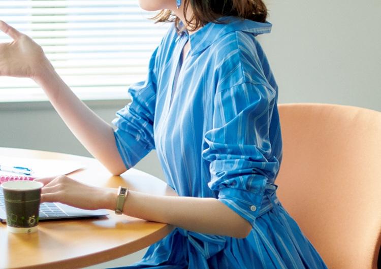 ブルーのワントーンが好印象♡お仕事で超使える親しみやすい最旬シャツワンピコーデ