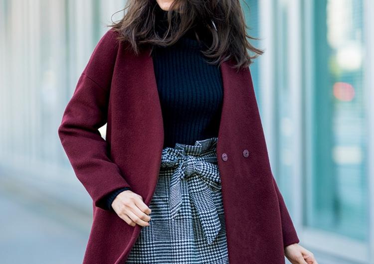 【毎日コーデ】通勤にもオフにも使えるボルドーコート。少し辛めの媚びない女コーデ