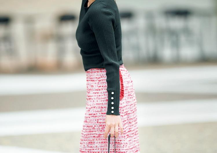 とにかく推しのツイード!タイトスカートで女っぽい♡リブニット合わせの上品コーデ