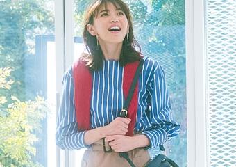 タイトなトレンチスカートが主役♡ストライプシャツを合わせたトレンド通勤コーデ