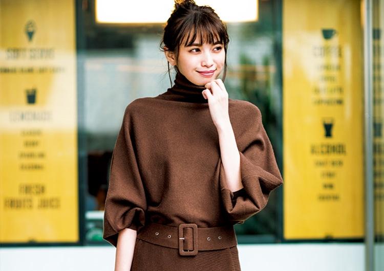 冬にモテるブラウンのニットワンピ♡大きめ袖と太めベルトでメリハリつけた旬コーデ
