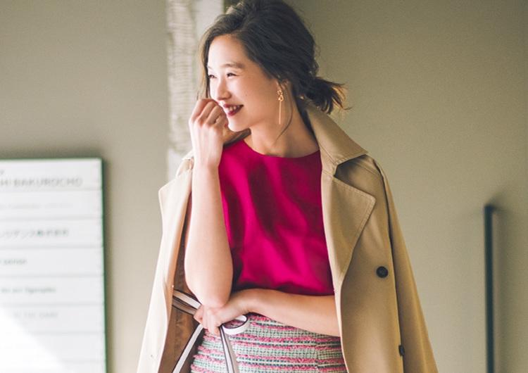GUのピンクブラウスはアラサーにぴったり♡ツイードスカートで作る春の通勤コーデ