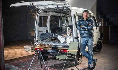 宮崎さんが制作しているカメラの3脚にも取り付けできる『38パレット』を中心に、ウルトラライトな装備でキャンプを楽しめるのがKバンライフの魅力。これなら、設営・撤収も一瞬で終わりそう。