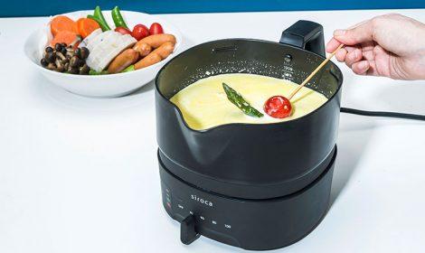 ちょいなべならホットプレートのように卓上で調理し、家族みんなで温かい料理を楽しむことができる。本体正面のレバーで電源のON/OFFや温度調整が可能。操作がシンプルで分かりやすいので子供でも操作しやすい。